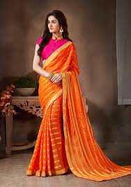 deep orange color saree with appealing fancy pallu