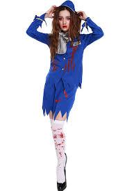 Nautical Halloween Costumes Blue Horror Stewardess Costume Horror Costumes Womens