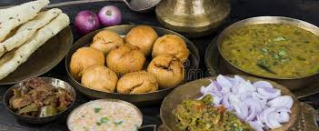 cuisine rajasthan indian cuisine dal baati stock image image of popular 105462235