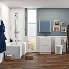 mode tate bathroom suite with right handed shower bath and white free delivery mode ellis right hand shower bath 1700 x 850 suite with ellis white floor drawer unit