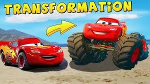 monster trucks lightning mcqueen spiderman lightning mcqueen transformation on big monster truck funny movie