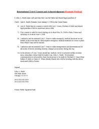 travel consent letter template child international travel consent