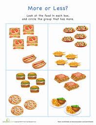 more or less food worksheet education com