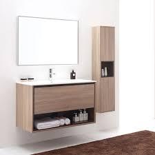 Bathroom Vanity 24 Inches Wide Ibiza 600mm White Oak Timber Wood Grain Wall Hung Bathroom Vanity
