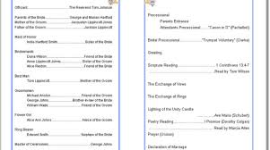 bi fold wedding program template wedding program templates thinkwedding print your own diy