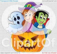 a halloween background cartoon of a ghost witch and vampire in a halloween jackolantern