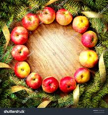 Christmas Tree Apples Decorations On Wooden Stock Photo 121181554