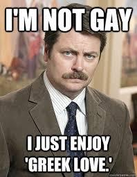 Greek Meme - i m not gay i just enjoy greek love awesome nick offerman