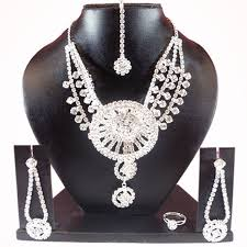 silver jewellery necklace sets images Buy silver plated diamond stone studded jewellery necklace earring jpg