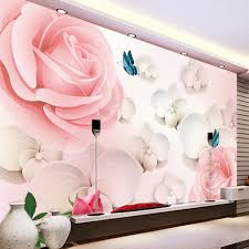 aliexpress com buy 3d hd large mural pink rose photo wallpaper