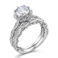 silver wedding ring sets 1 8 ct genuine 925 sterling silver wedding ring sets engagement
