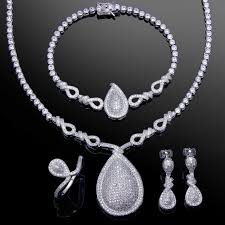 necklace set white images Ladies jewelry set white gold color cubic zirconia charm jpg