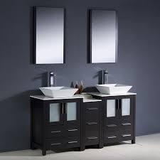 Sink With Double Faucet Shop Fresca Bari Espresso Double Vessel Sink Bathroom Vanity With