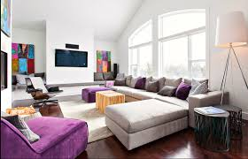 purple and grey modern decor family room just decorate