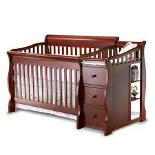 White Convertible Crib With Drawer by Bedroom Cozy White Baby Cache Crib With Beige Mattress For