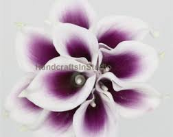 purple calla lilies real touch purple white calla lilies bouquet picasso purple