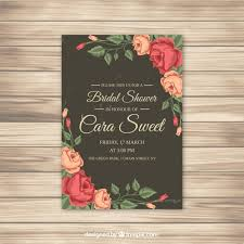 Cheap Wedding Shower Invitations Bridal Shower Invitation With Roses Vector Free Download