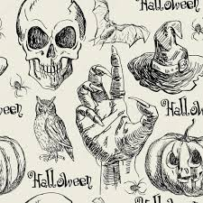 halloween seamless backgrounds hand drawn halloween seamless pattern in vector with zombie hand