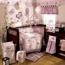 baby nursery ideas purple white benches white curtain rod