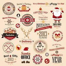 different vintage christmas labels elements vector set 01 labels