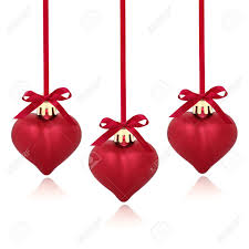 ribbon and bows christmas heart shaped bauble trio with ribbon and bows isolated