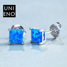 royal blue earrings f10453 royal blue opal square stud earrings yiwuproducts