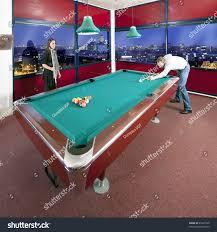 Two People Playing Pool Room View Stock Shutterstock