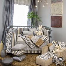 neutral colored bedding glenna jean baby gender neutral unique grey tan crib nursery quilt