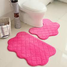 Soft Bathroom Rugs 2pcs Set Pink Color New Soft Bath Pedestal Mat Set Toilet Non Slip