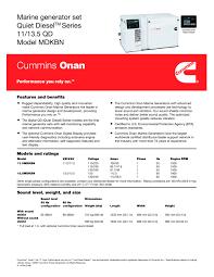cummins onan marine generator set quiet diesel series 11 13 5 qd