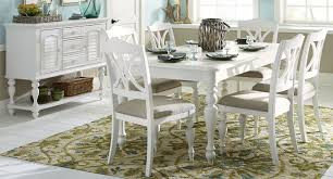 White House Dining Room Summer House Oyster White Rectangular Leg Dining Room Set From