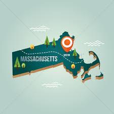 Massachusetts Map Massachusetts Map With Capital City Vector Image 1536774