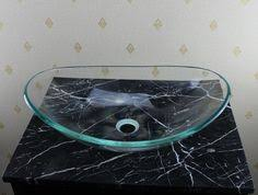 Clear Glass Bathroom Sinks - features all mounting hardware and cold waterlines are