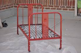 furniture red painted vintage metal bed frames using spring