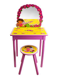 Girls Vanity Table And Stool Nickelodeon Dora The Explorer Girls Pink Vanity And Stool Set