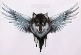 winged wolf design