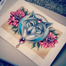 wolf and roses tattoo design by kirstynoelledavies on deviantart