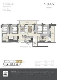vida residences dubai mall 1 bed type 1b a floor plan