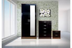 khabat 3 piece mirrored bedroom furniture set in black gloss