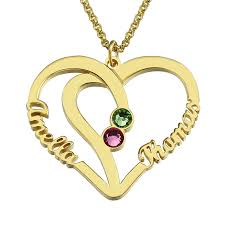 cheap name necklaces customized heart names necklace birthstone necklace gold color