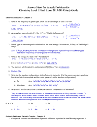 answer key honors chem study guide final exam june 2014