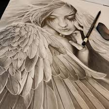 drawn angel artwork pencil and in color drawn angel artwork
