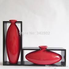 Wood Vases Wholesale Modern Egg Shape With Wood Frame Ceramic Vase For Home Decor
