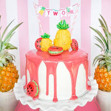 Tropical Party Themes - tropical birthday party mini cake bunting luau hawaiian party