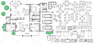 floor plan with furniture in topview illustrations creative market