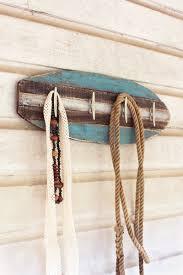 wooden surfboard coat rack