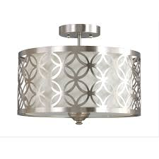 kitchen ceiling lights flush mount shop allen roth earling 15 in w brushed nickel fabric semi flush