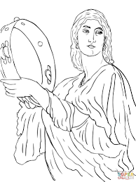 miriam celebrates the crossing of red sea coloring page free