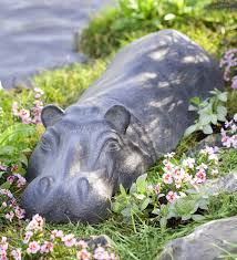 swimming hippo garden sculpture in garden statues animal statues