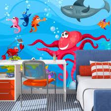papier peint pour chambre d enfant papier peint pour chambre d enfant poulpe et requin tendencio